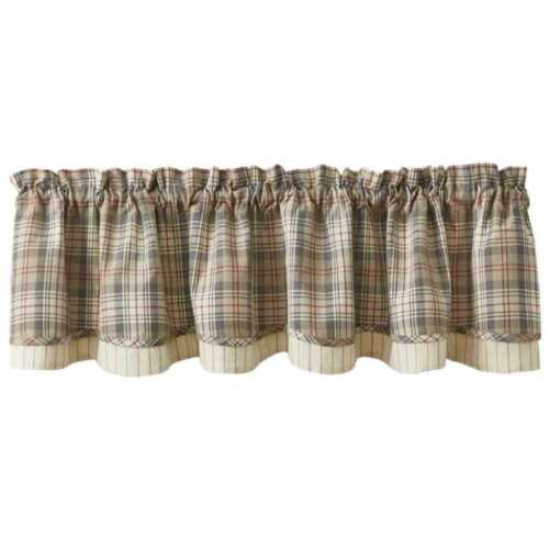 Gentry Layered Lined Valance 72X16 Taupe Gray Tan Red Cream Plaid Farmhouse