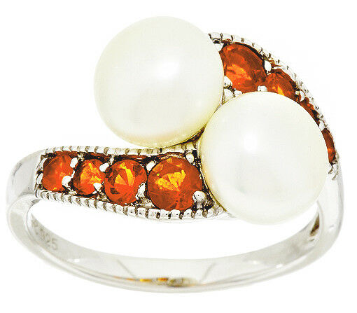 Honora Cultured Pearl 8.0mm & 0.40 cttw Fire Opal Sterling Ring Size 6