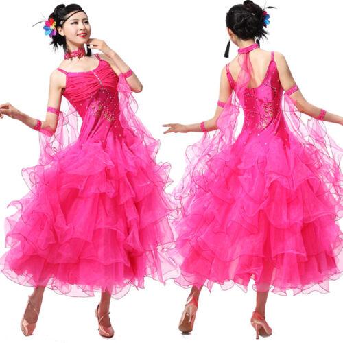 NEW Latin Ballroom Dance Dress Modern Salsa Waltz Standard Long Dress#NN071