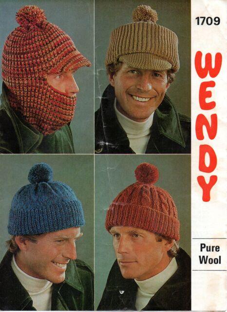 9ebdac287bb52 Wendy 1709 Vintage Knitting Pattern Mens Hats Pure Wool DK