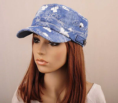 M305 Blue Trendy  Embroidered Floral Jeans Baseball Cap Visor Sun Hat Women NWT