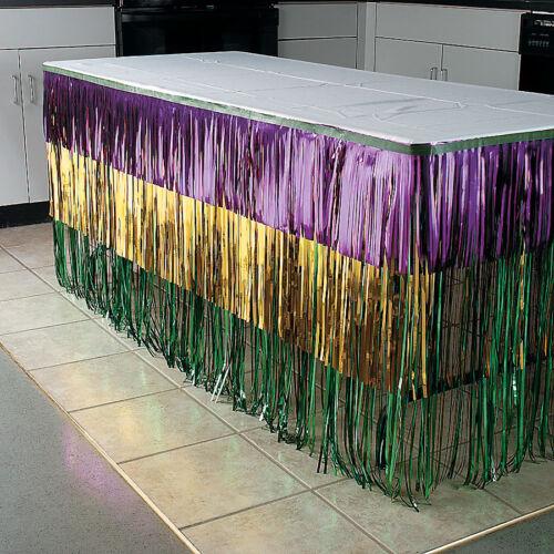 MARDI GRAS Fat Tuesday Party Decoration Metallic FRINGE TABLE SKIRTING Skirt