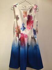 Ladies Flowery Designer Summer Dress Calvin Klein Wedding Party  Size 12 Uk
