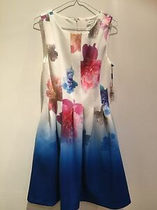 Uk Size Dress Ladies Wedding Calvin 10 Designer Klein Party Flowery Summer qS8vZ