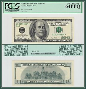 1996-Star-100-San-Francisco-Federal-Reserve-Note-PCGS-64-PPQ-Choice-New-Unc