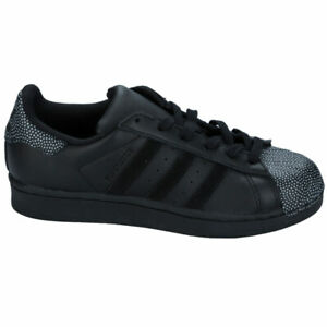 Adidas Originals Junior Femmes Superstar Ray Noir Baskets S76351 RRP £ 50 (A12)