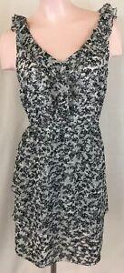 White-House-Black-Market-Black-amp-White-Ruffled-Dress-Women-s-Size-12