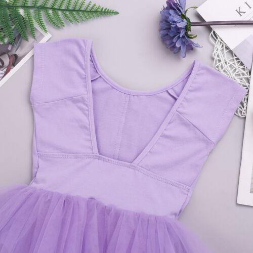 Girl Ballet Ballerina Dress Kid Gymnastic Open Back Leotard Tutu Skirt Dancewear