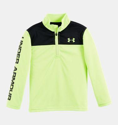 7 ** NWT 6 UNDER ARMOUR Boy/'s UA CORE 1//4 Zip L//S Shirt ** FUEL GREEN//BLACK