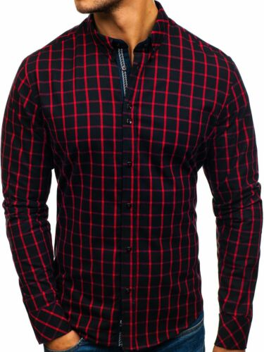 Freizeithemd Figurbetont Shirt Langarm Hemd Casual Herren BOLF 2B2 Kariert