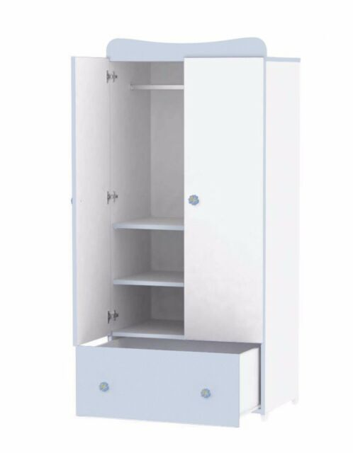 NEW LORELLI WARDROBE EXCLUSIVE 2 WHITE/BLUE Child Nursery Toddler Teen  Furniture