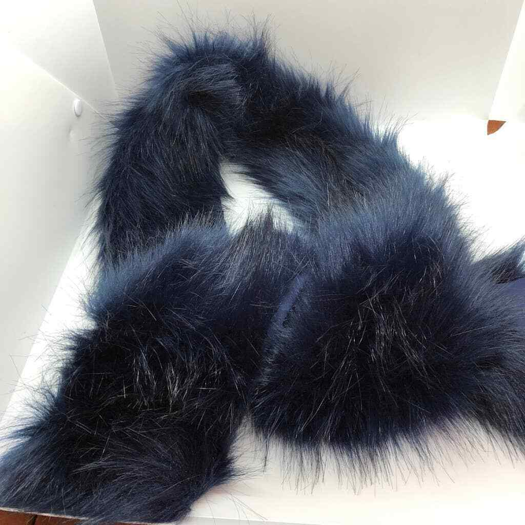 a new day navy blue faux fur wrap scarf satin back