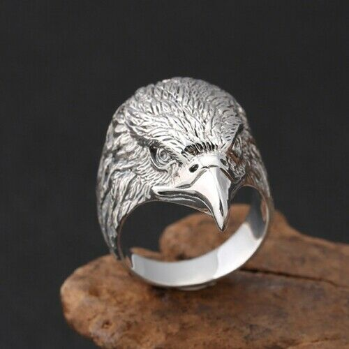Real 925 Sterling Silver Ring Eagle Head Size 8 9 10 11