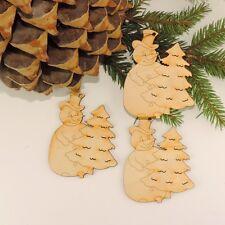 Schneemann 3 Stück Baumbehang, Christbaumschmuck aus Holz DIY Rohling, Weihnacht
