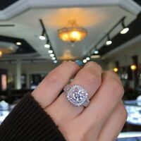 2.00CT Round-Cut Delicated Diamond Halo Engagement Ring 14k White Gold