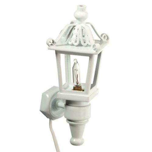 Dolls House White Carriage Coach Lamp Miniature Outside Wall Light Electric 12V