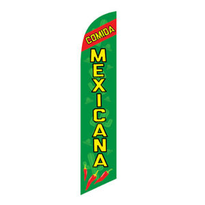 Comida Mexicana Spanish Swooper Feather Banner Flag - Advertising FLAG ONLY -