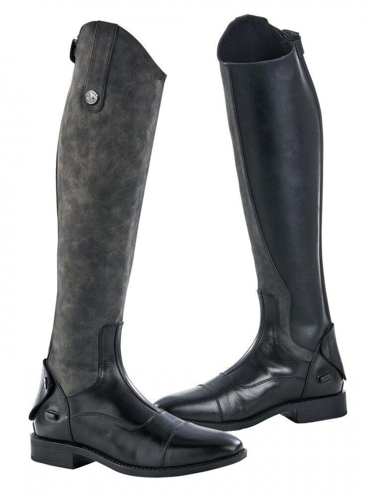 Damen Damen Damen Reitstiefel BONDY BUSSE schwarz/grau lang NEU 106497