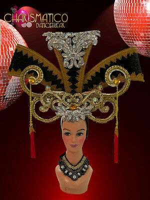 CHARISMATICO Gold and Silver Chinese Inspired Headdress with Lucky Red tassels