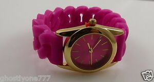 Pink-and-gold-tone-watch-rubber-tire-tread-type-band-New-trendy