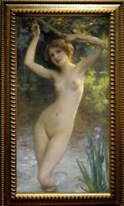 """Old Master-Art Antique Oil Painting Portrait nude girl on canvas 24""""x40"""""""