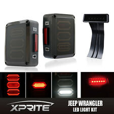 Smoke LED Rear Taillight 3rd Third Brake Light Combo For 07-17 Jeep Wrangler