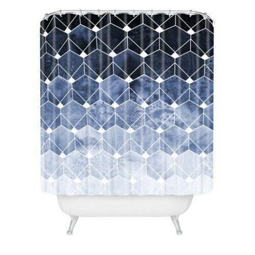 Deny Designs Blau HEXAGON AND DIAMONDS Shower Curtain, 72  x 69  NEW