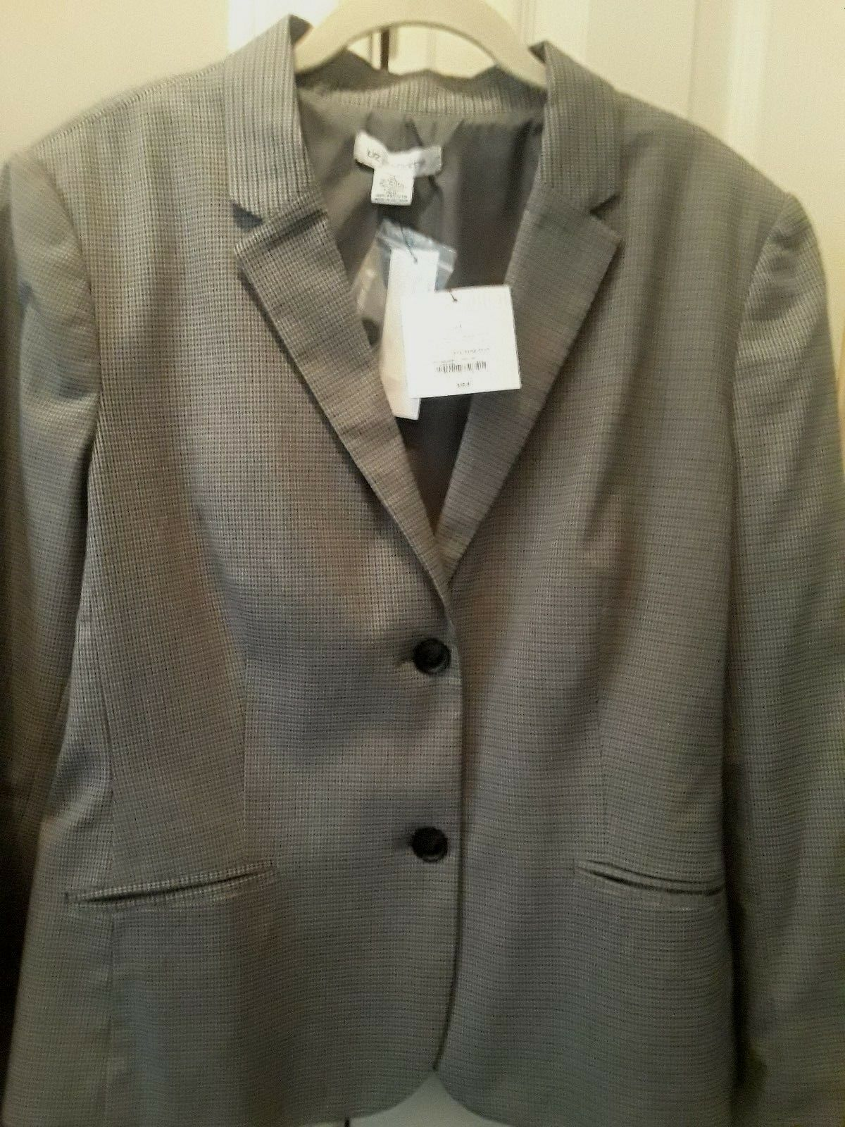 New Liz Claiborne Collection Mini Houndstooth Pattern Grey Multi Misses Size XL
