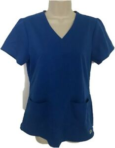 Gray-039-s-Anatomy-by-Barco-Women-Small-Nurse-Scrub-Hospital-Uniform-Top-Blue-Shirt