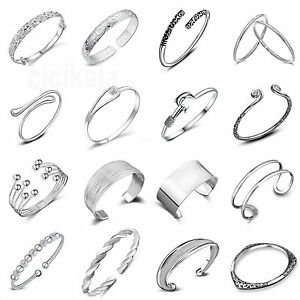 925-Silver-Plated-Cuff-Bracelet-Bangle-Chain-Wristband-Women-Fashion-Jewelry-NEW