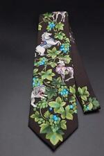 LEONARD PARIS Silk Tie. Brown with a Horse Lion Ram Camel & Elephant Design.