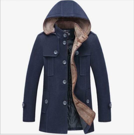 Mens Wool Blend Peacoat Casual Trench Single-Breasted Parkas Outdoor Hooded Coat