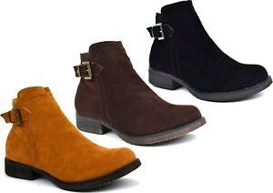 New-Ladies-Suede-Casual-Formal-Low-Block-Heel-Winter-Boot-UK-Size-3-8