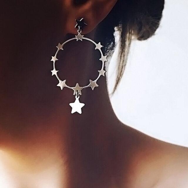 Boho Women Silver Geometric Circle Stars Drop Dangle Earrings Ear Studs Jewelry√