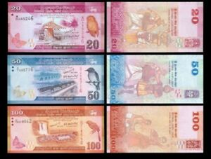 Sri-Lanka-Set-3Pcs-20-50-100-Rupees-Random-Year-Uncirculated-UNC