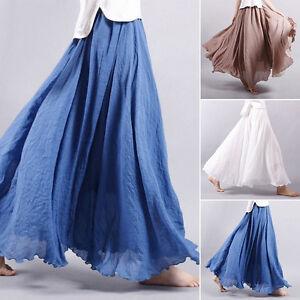 Women-Summer-Linen-Layered-Pleated-Casual-Maxi-Long-Beach-Solid-Skirt-Dress-New