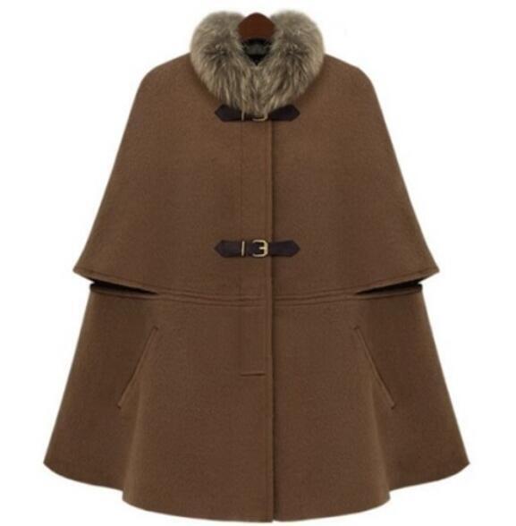 Womens Winter furry collar Wool blend Poncho Cloak Cape Coat Coat Coat shawl outwear 863fef
