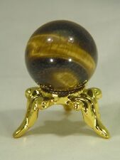 BUTW African Golden Tiger eye Lapidary 20mm Diameter SPHERE w/ Stand 2500E