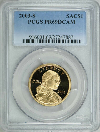 2003-S SACAGAWEA PROOF GOLDEN DOLLAR $1 PCGS PR69DCAM