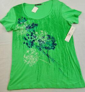 women-039-s-Oleg-Cassini-sport-printed-tee-shirt-size-small-kelly-green-RETAILS-32