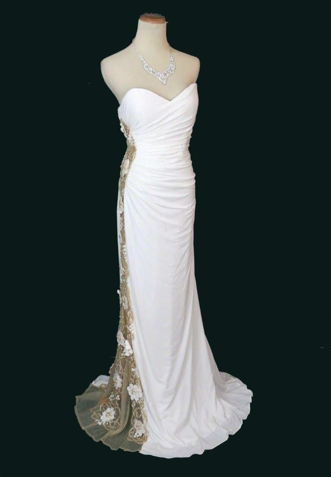 Nuovo Jovani 79244 Originale Bianco Sporco Perline Sposa Abito da Sera Ballo