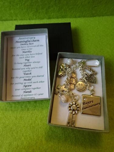 ANNIVERSARY Meaningful Keepsake keyring Charm Gift Boxed Poem Heart Medal Smile