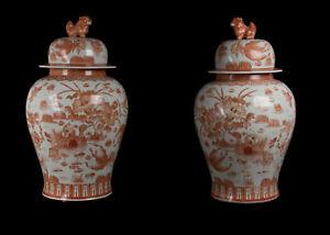 China-20-Siglo-un-Par-Talla-Chino-Porcelana-Baluster-Temple-Floreros