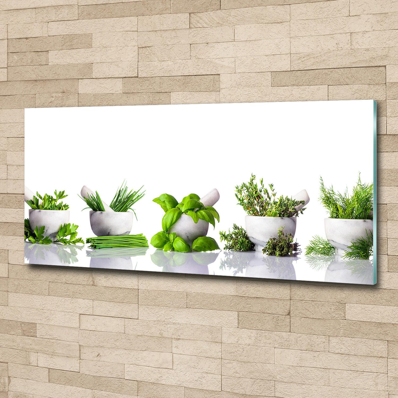 Glas-Bild Wandbilder Druck auf Glas 125x50 Deko Blaumen & Pflanzen Kräuter