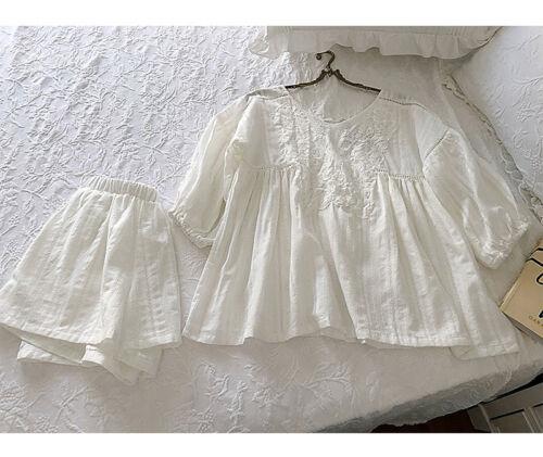 Womens  Victorian Style Cotton /& Lace Pyjama Set Top,Knickers Bridal Lounge Wear