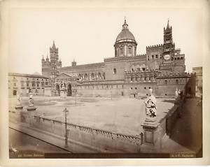 Italie-Palerme-Palermo-Sicile-Duomo-vue-generale-Vintage-albumin-print