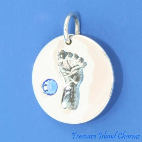 Baby empreinte septembre Pierre de Naissance Bleu Saphir Cz .925 Sterling Silver Charm