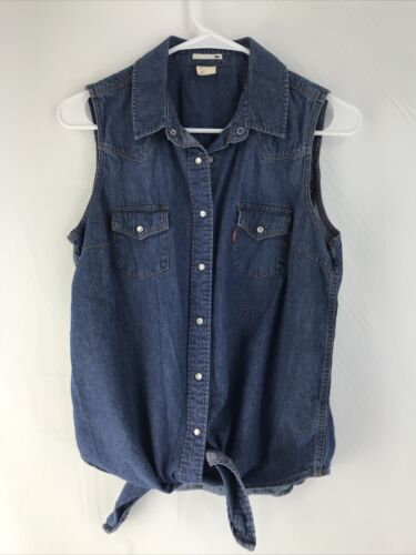 Levis Women's Sleeveless Chambray Top Size M Pearl