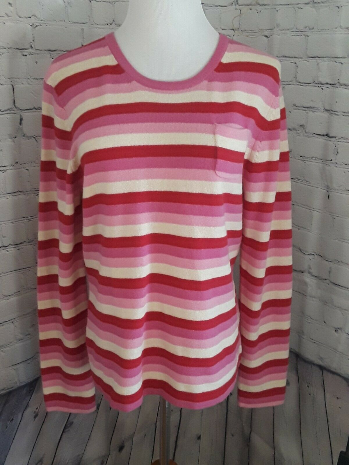 Womens Vintage 90s Gap Sweater Striped Lambswool Pink Red Cream sz L Pullover