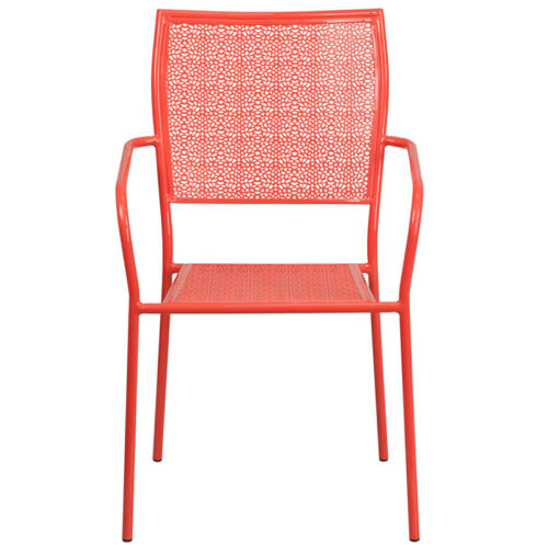 Indoor /& Outdoor Coral Metal Restaurant Patio Stack Chair with Arm /& Square Back